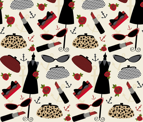 Rockabilly Red  fabric by jills_cloth_shop on Spoonflower - custom fabric