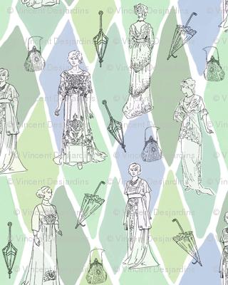 Edwardian Fashion Show Greens