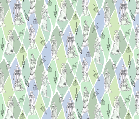 Edwardian Fashion Show Greens fabric by vinpauld on Spoonflower - custom fabric