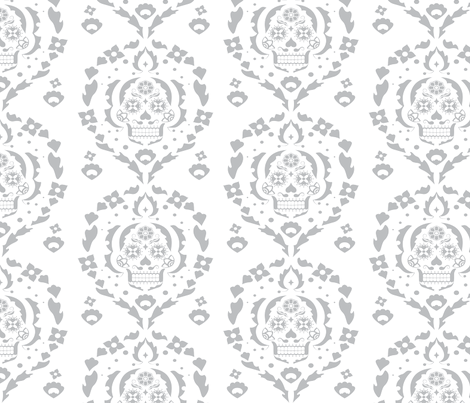 Damask de los Muertos (gray) fabric by abowersock on Spoonflower - custom fabric