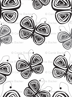 Butterflies-Black and gray