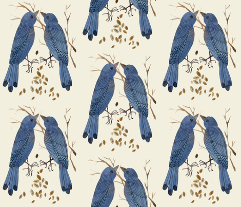 bluebirds natural fabric by gollybard on Spoonflower - custom fabric