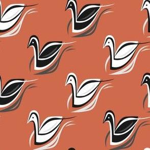 Swans in Crimson