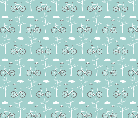 Bicycles in the Park - Blue fabric by lauriebaars on Spoonflower - custom fabric