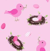 Nesting Pink Birds