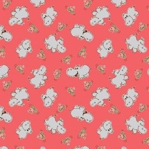 HIPPOS and WATER LILIES - CORAL