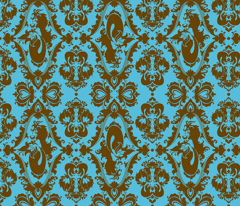 Mermaid Damask in Blue and Brown fabric by rosalarian on Spoonflower - custom fabric