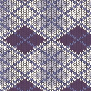 Hand Knit Argyle - PlumBlueWhite