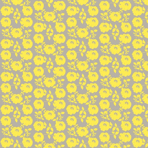 Floral pattern with leaves, yellow