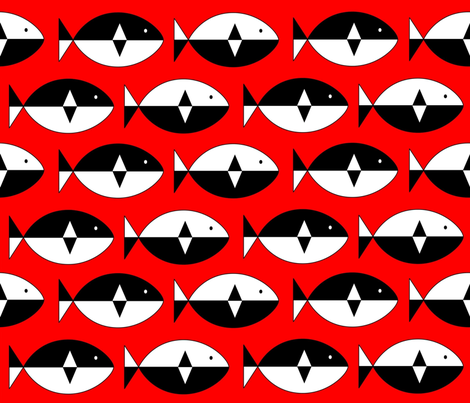 Norwegian Fish Red fabric by mooddesignstudio on Spoonflower - custom fabric