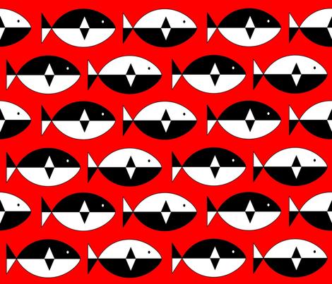 Norwegian Fish Red fabric by mooddesignstudio on Spoonflower - custom fabric
