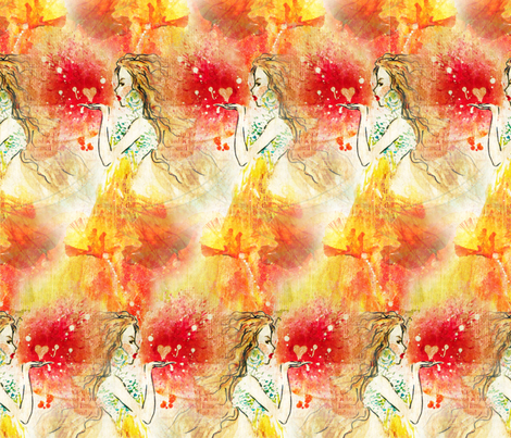Blowing a kiss fabric by sparklepriestess on Spoonflower - custom fabric