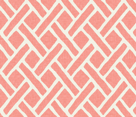 Savannah Trellis in Light Coral Linen fabric by sparrowsong on Spoonflower - custom fabric