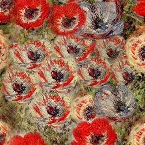 Monet Red Cream Anemones Floral