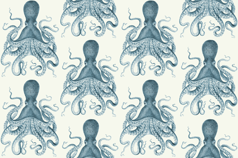 Octopus Oasis in Sea fabric by willowlanetextiles on Spoonflower - custom fabric