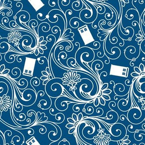 White Phone Boxes and Swirls on Blue