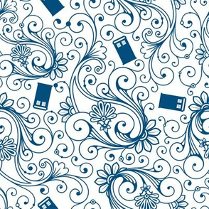 Blue Phone Boxes and Swirls on White