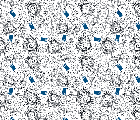 Blue Phone Boxes and Black Swirls on White - Large Swirls