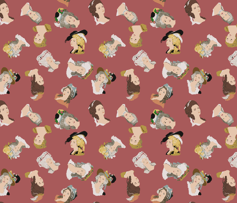 French Rococco Fashion:  Hats and Hairstyles of the 1700's on Dusty Rose fabric by bloomingwyldeiris on Spoonflower - custom fabric