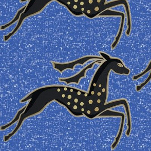 Tame galloping gazelles on deep blue