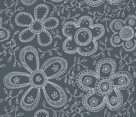 Gray fashion flowers fabric by celebrindal on Spoonflower - custom fabric