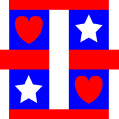 Red White Blue Heart Star