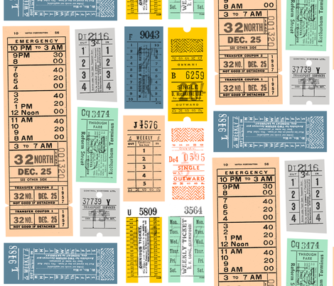 Ticket to Ride || vintage ephemera bus train subway tickets uk Europe London British fabric by pennycandy on Spoonflower - custom fabric