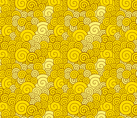 Yellow spirals fabric by suziedesign on Spoonflower - custom fabric