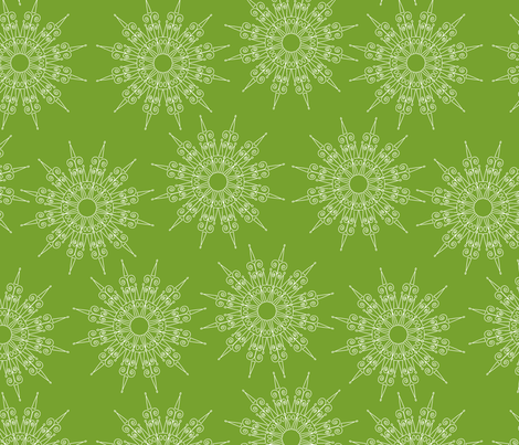 white snowflakes on green fabric by suziedesign on Spoonflower - custom fabric