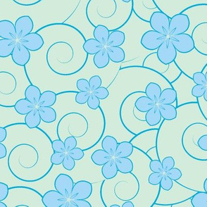 blue flowers and blue swirls