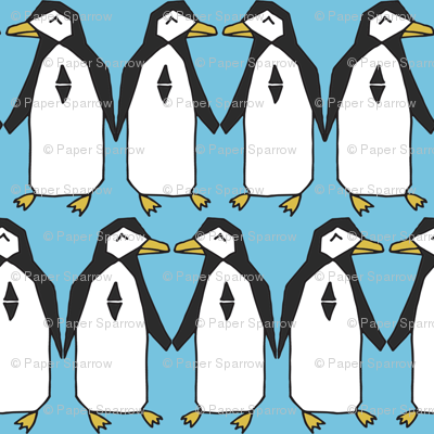 Penguin rows // blue penguins birds bird antarctic kids nursery baby winter