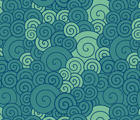 Blue spirals fabric by suziedesign on Spoonflower - custom fabric