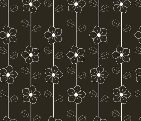 White retro flowers fabric by suziedesign on Spoonflower - custom fabric