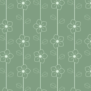 Green retro flowers