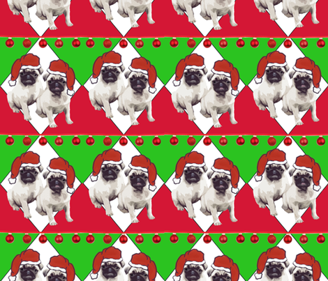 Pug Christmas fabric fabric by dogdaze_ on Spoonflower - custom fabric