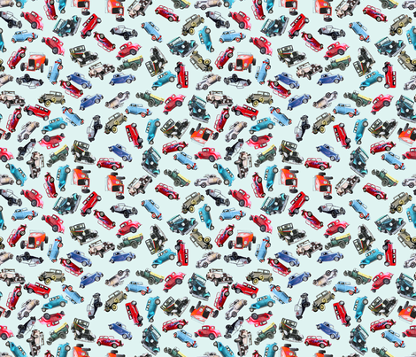 Ditsy vintage cars- tiny fabric by koalalady on Spoonflower - custom fabric