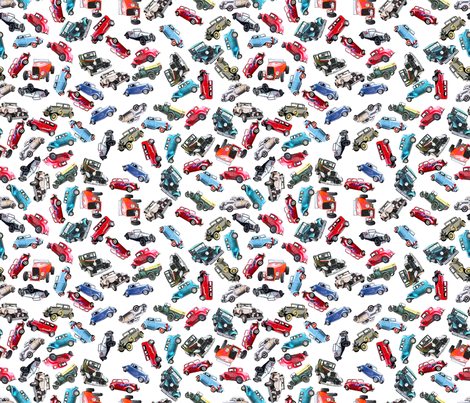 Ditsy vintage cars- tiny 2 fabric by koalalady on Spoonflower - custom fabric