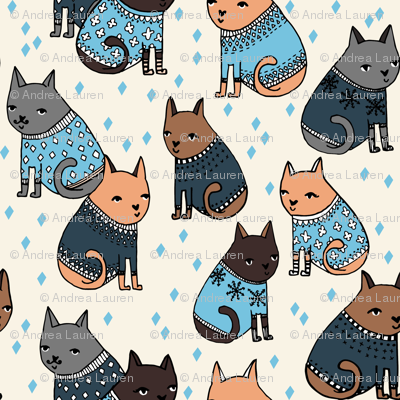 Cats at a Sweater Party - Parisian Blue/Soft Blue by Andrea Lauren