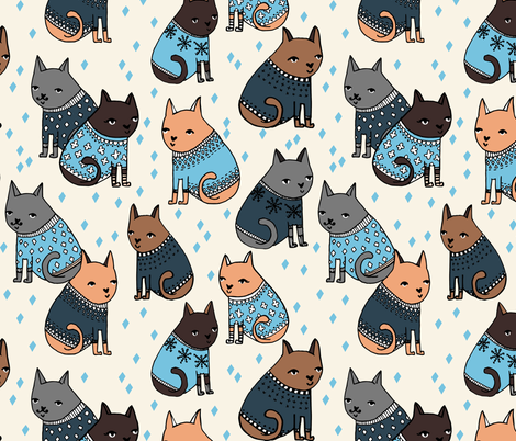 Cats at a Sweater Party - Parisian Blue/Soft Blue by Andrea Lauren fabric by andrea_lauren on Spoonflower - custom fabric