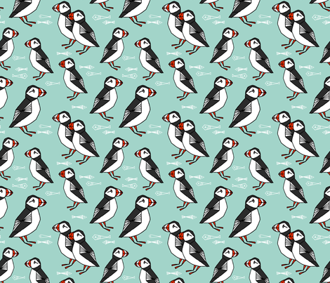 puffin // mint birds nautical scottish birds birdwatching puffin fabric fabric by andrea_lauren on Spoonflower - custom fabric