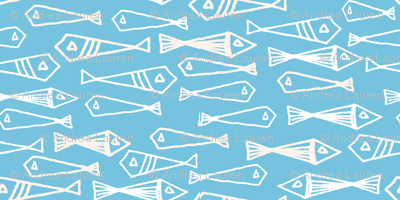 fish // geo fish geometric baby blue soft blue fish and cream