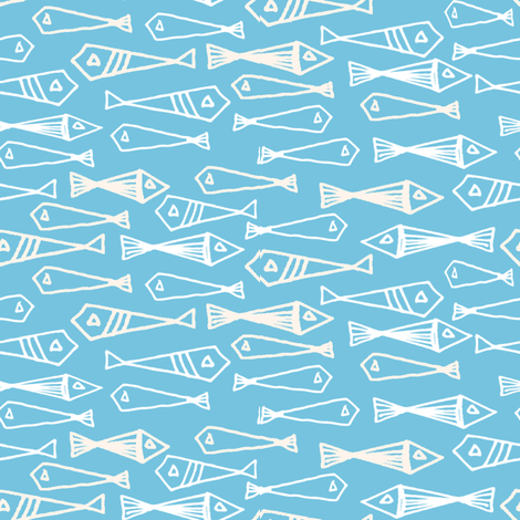 fish // geo fish geometric baby blue soft blue fish and cream fabric by andrea_lauren on Spoonflower - custom fabric