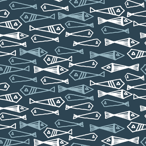 fish // blue fishes blue and white fish design fabric by andrea_lauren on Spoonflower - custom fabric