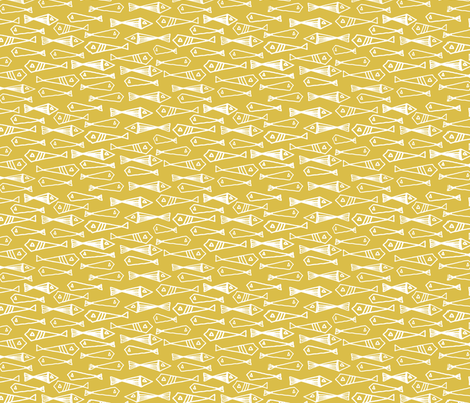 Fish - Mustard fabric by andrea_lauren on Spoonflower - custom fabric