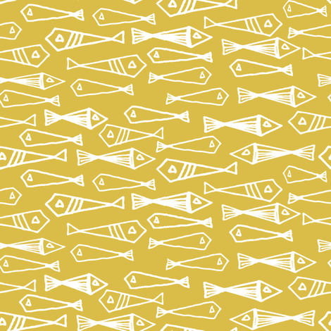 fish // mustard yellow fish sea yellow nautical fishes fabric by andrea_lauren on Spoonflower - custom fabric