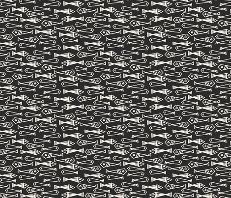 Fish - Charcoal fabric by andrea_lauren on Spoonflower - custom fabric