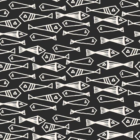 fish // geometric fish winter sea ocean fabric by andrea_lauren on Spoonflower - custom fabric