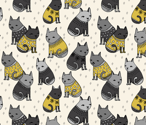 Cats at a Sweater Party - MustardGreys by Andrea Lauren fabric by andrea_lauren on Spoonflower - custom fabric