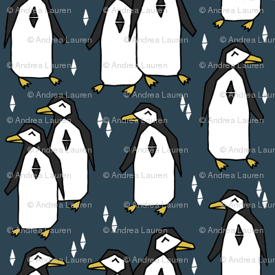 penguin // blue navy blue penguins pingus kids nursery baby