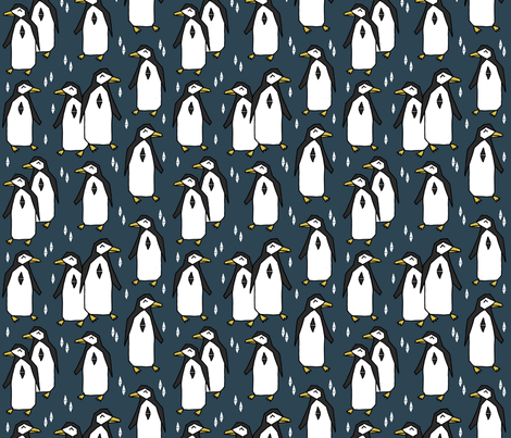 penguin // blue navy blue penguins pingus kids nursery baby  fabric by andrea_lauren on Spoonflower - custom fabric